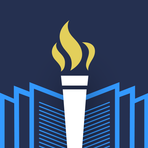 Presterity logo: a torch and a book